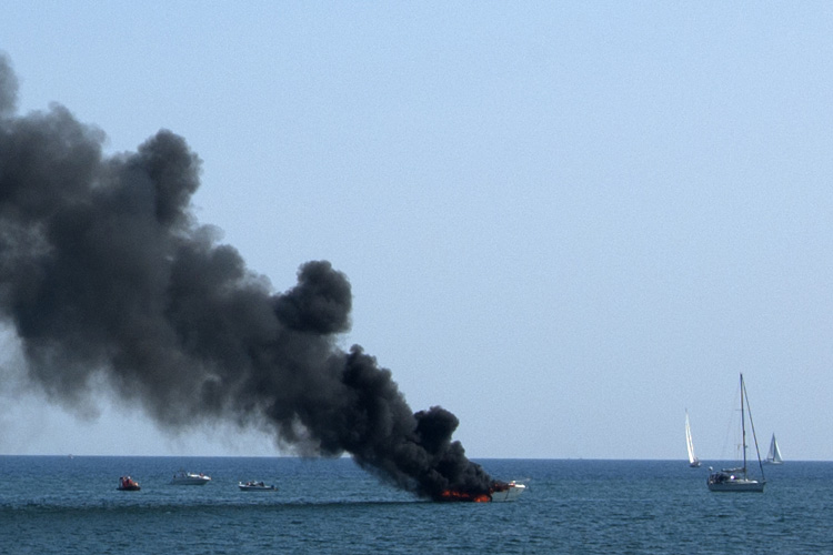 Dramatic rescue from burning boat