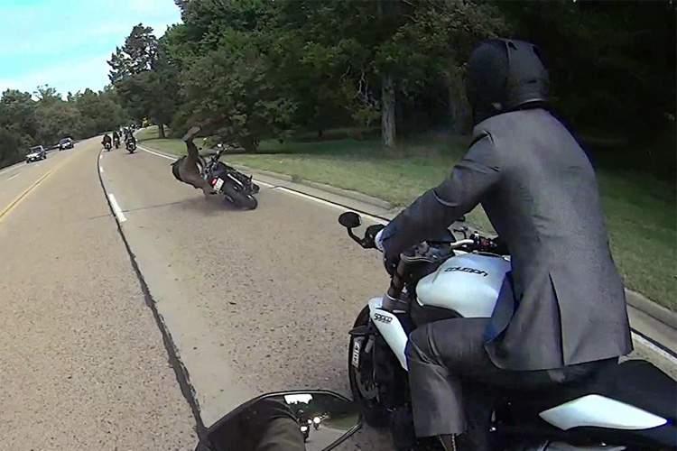 WATCH: Motorcyclist taken out by huge buck